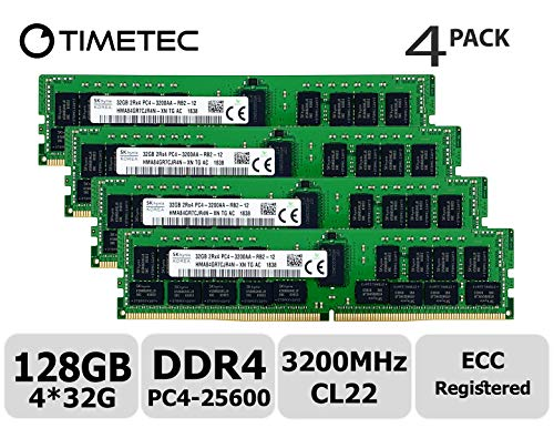 Timetec Hynix Original 128GB KIT(4x32GB) DDR4 3200MHz PC4-25600 Registered ECC 1.2V CL22 2Rx4 Dual Rank 288 Pin RDIMM Server Memory RAM Module Upgrade (128GB KIT(4x32GB))