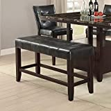 Modern Black Faux Leather Counter Height Dining Bench with Solid Rubber Wood Frame and Tufted Seat