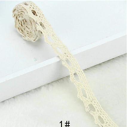 Beige 2.5cm// 1 Qiuda Ruban de Bordure en Dentelle Florale de 2,5 cm en Coton de 2,5 cm de Style Vintage Blanc//Ivoire//cr/ème//Noir