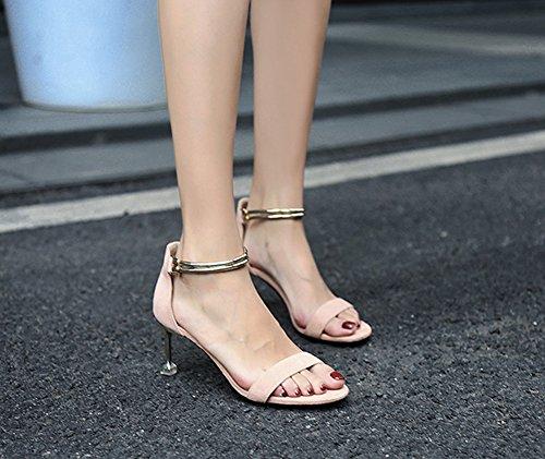 Ruiren Pour Talons Sandales Rose Dames Chaton Cheville Femmes Chaussures Talon Hauts Ouvert HwCqFHRx4