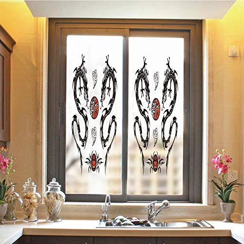 Japanese Dragon 3D No Glue Static Decorative Privacy Window Films, Tribal Tattoo Style Asian Indigenous Creatures with Artistic Details Decorative,17.7