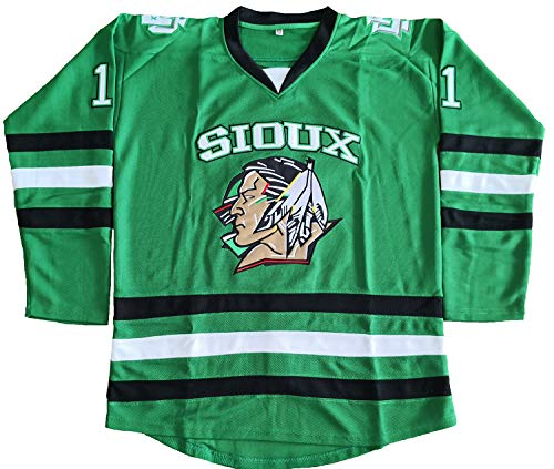 huge selection of d5cac d6eb1 North Dakota Fighting Sioux 7 TJ Oshie 11 Zach Parise Hockey Jersey Green  (11 Green, XXX-Large)