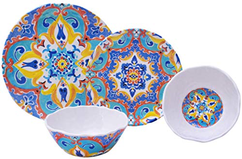 Romella Mixed 12 Piece Melamine Dinnerware Set ()