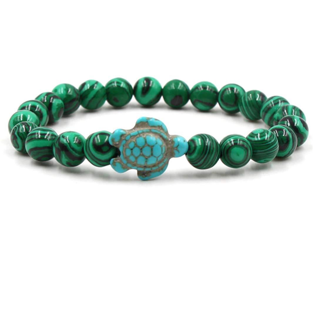 YouCY Stone Bracelet Suitable For All Seasons Sea Turtle Beads Bracelets Unisex Stone Elastic Beads Bracelets Beach Jewelry,Malachite Stone