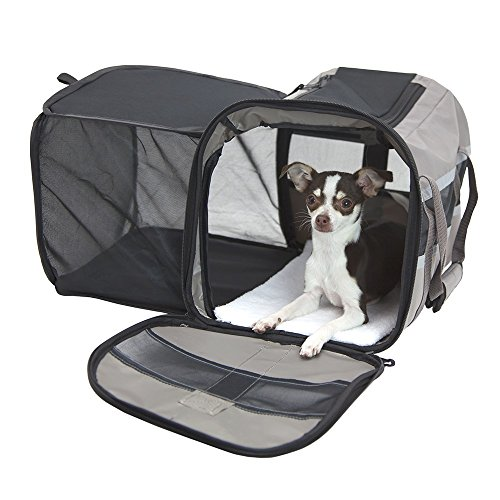 SportPet Designs Travel Soft-Sided Pet Carrier, Waterproof Travel Pet Bed, Portable Pet Bed with Zipper, with Expandable Option