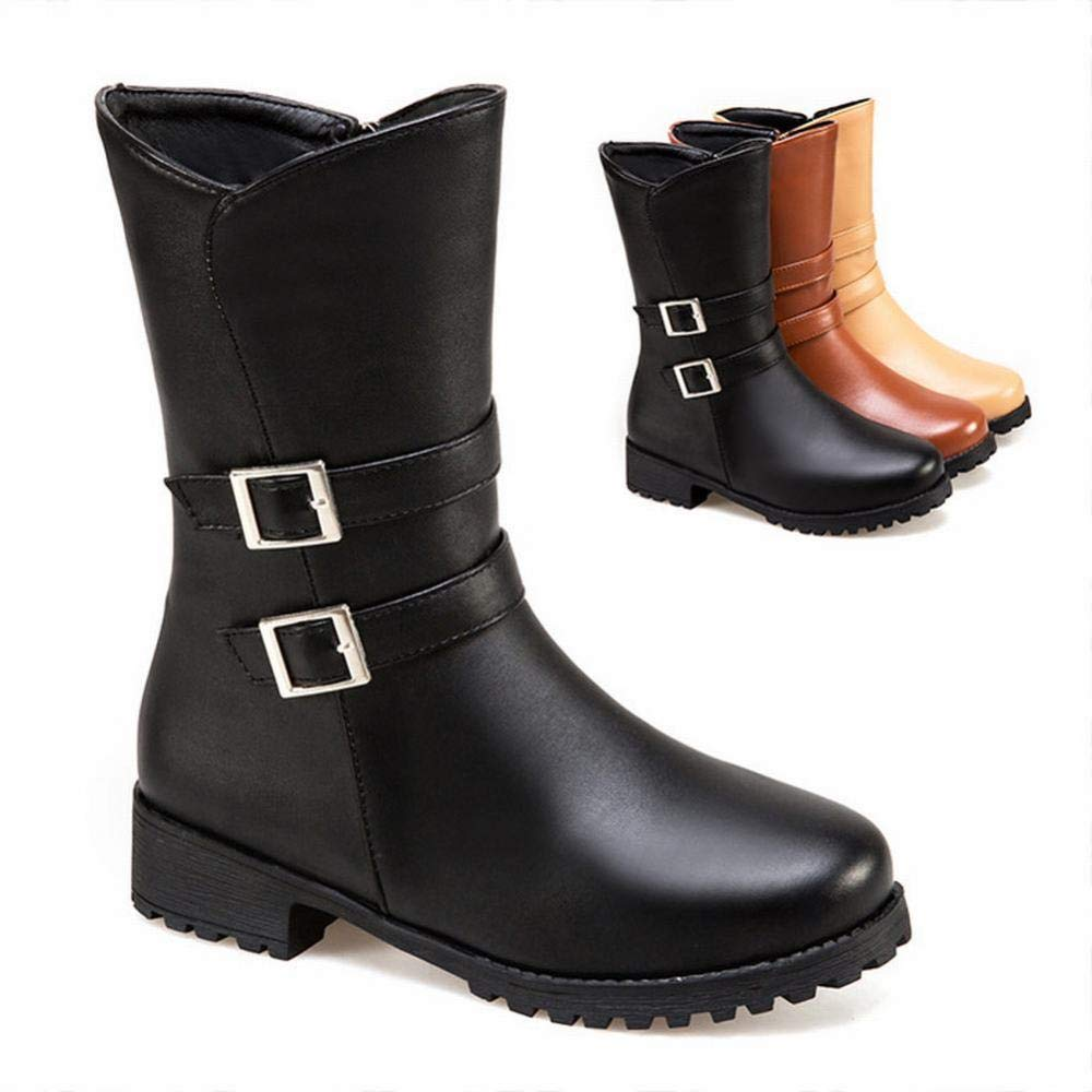 Shoes 34-43 Womens Boots Trend Low Heel Boots//Belt Buckle//Winter Warm Boots//Large Size Shoes