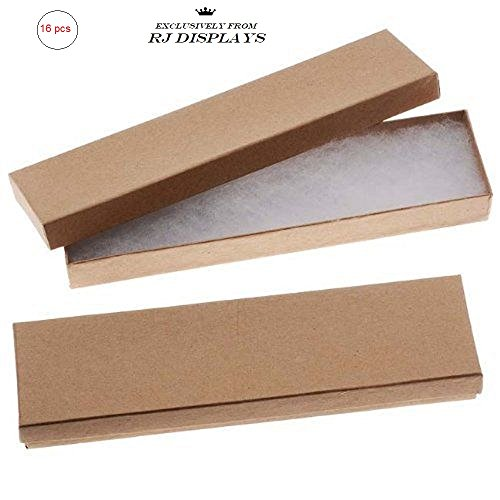 Beadaholique Kraft Brown Cardboard Jewelry Boxes (16 Pack), 8 x 2 x 1