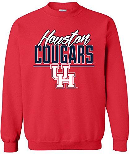 NCAA Houston Cougars Adult NCAA Script Crewneck Sweatshirt,X-Large,Red