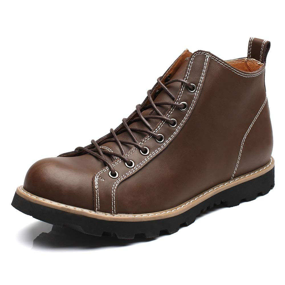 Oudan Herrenmode Casual High Ankle Stiefel Top Plain Farbe Round Top Waterproof Martin Stiefel (Farbe   Schwarz, Größe   41 EU) (Farbe   Dark braun, Größe   38 EU)
