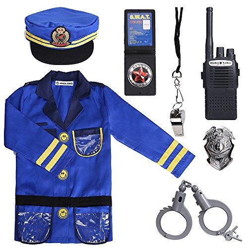 PROLOSO Police Officer Costumes Role Play Kit, Ages 3-6 Years -