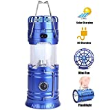 LED Camping Lantern,WONFAST Portable Rechargeable Solar Emergency Collapsible Tent Lantern Flashlight with Mini Fan for Outdoor Fishing Hiking Hunting (Blue)