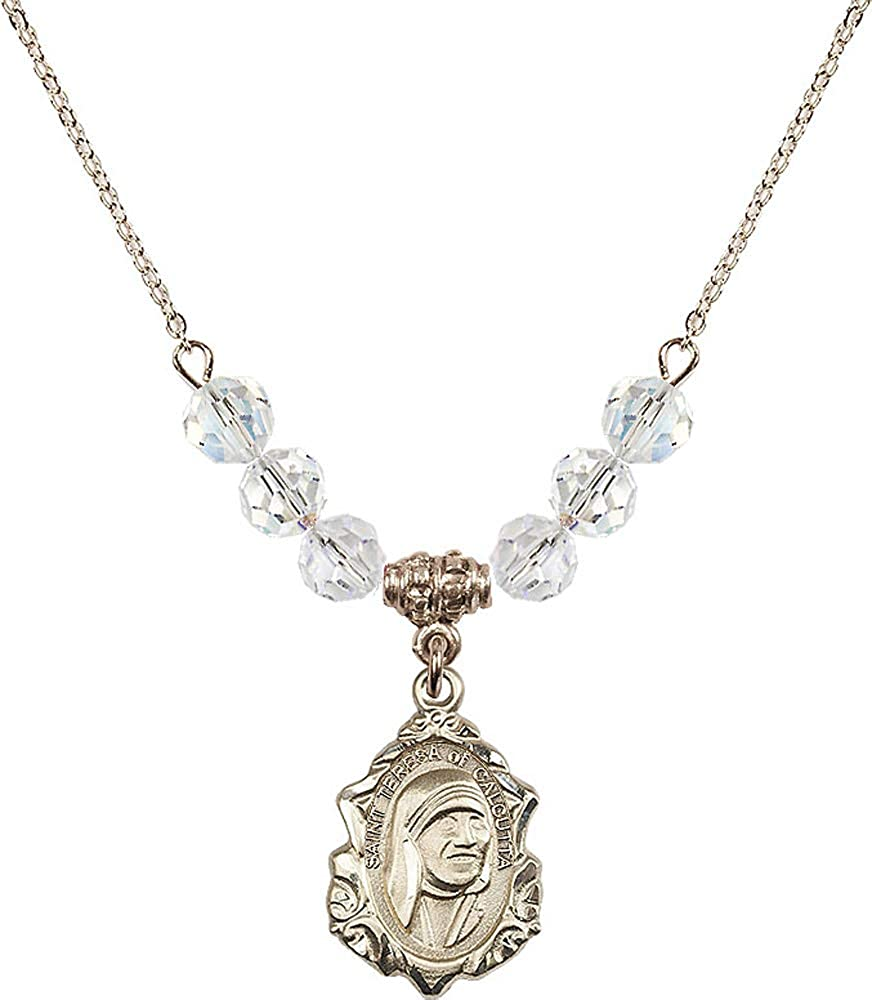 Crystal April Birthstone 18-Inch Hamilton Gold Plated Necklace with 6mm Crystal Birthstone Beads and Saint Teresa of Calcutta Charm