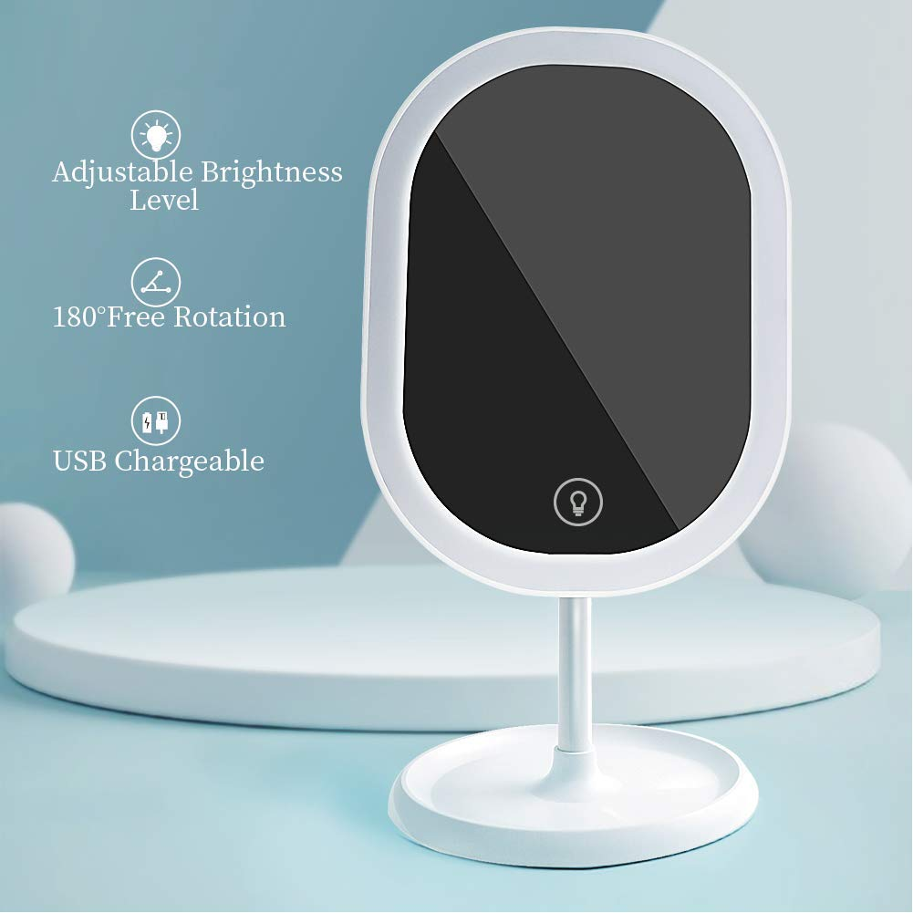 Makeup Mirror with Lights,GYTF Portable Tabletop Vanity Mirror, Brightness Adjustable & Built-in Large Capacity 1000mAh Rechargeable Battery (White)