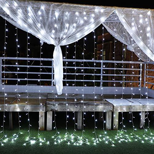 Led-lichtsnoer, 3 m x 3 m, lichtgordijn met 300 leds, kerstverlichting, 8 modi, laagspanning 31 V, lichtgordijn voor…