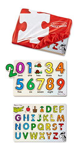 Melissa & Doug ABCs and 123s Wooden Peg Puzzles Set With Puzzle Keeper Stretchy Cover - Peg Puzzle Set