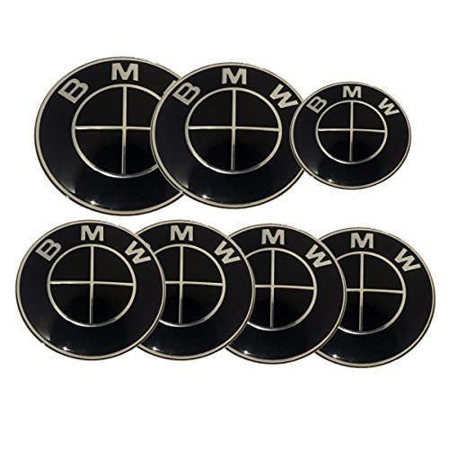 Replacement Dark Black Silver Cross Round Emblem 7pcs 82mm Front 73mm Behind 68mm Wheel Caps Emblem 44mm Steering