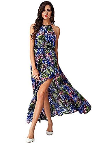 Halter Blue Split DOOXILADY Printing Bohemia Women's Dress Beach Maxi qCTnUxpnwO