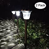 2 Pack Solar Lights Outdoor Garden Pathway Glass Lens Stainless Steel Waterproof Auto On/off Wireless Sun Powered Landscape Lighting Patio Lawn Walkway Driveway Ground Landscaping Bright Path Light
