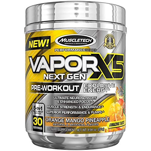 MuscleTech Vapor X5 Next Gen Pre Workout Powder, Explosive Energy Supplement, Orange Mango Pineapple, 30 Servings 8.94oz