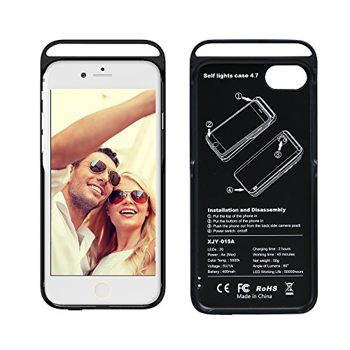 TECKEPIC Selfie Light Up Case - LED Illuminated Soft Cell Phone Case Protector Cover for iPhone 6, 6s, 7, 8