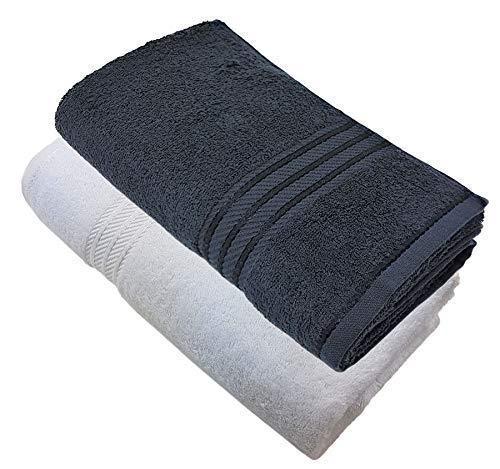 2X de Lujo de Rayas Calidad de de de Hotel 100% Algodón Egipcio Suave Absorbente Negro Blanco Toalla 600gsm 50f82d