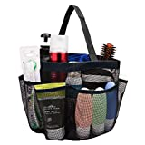 Mesh Shower Caddy - Quick Dry 8 Pockets Mesh Portable Shower Tote Bag with Handle for College, Dorms, School, Sport, Gym, Camp, Black