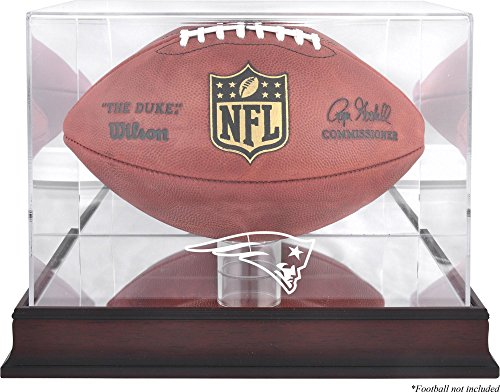 Mounted Memories New England Patriots Mahogany Football Logo Display Case and Mirror Back ()