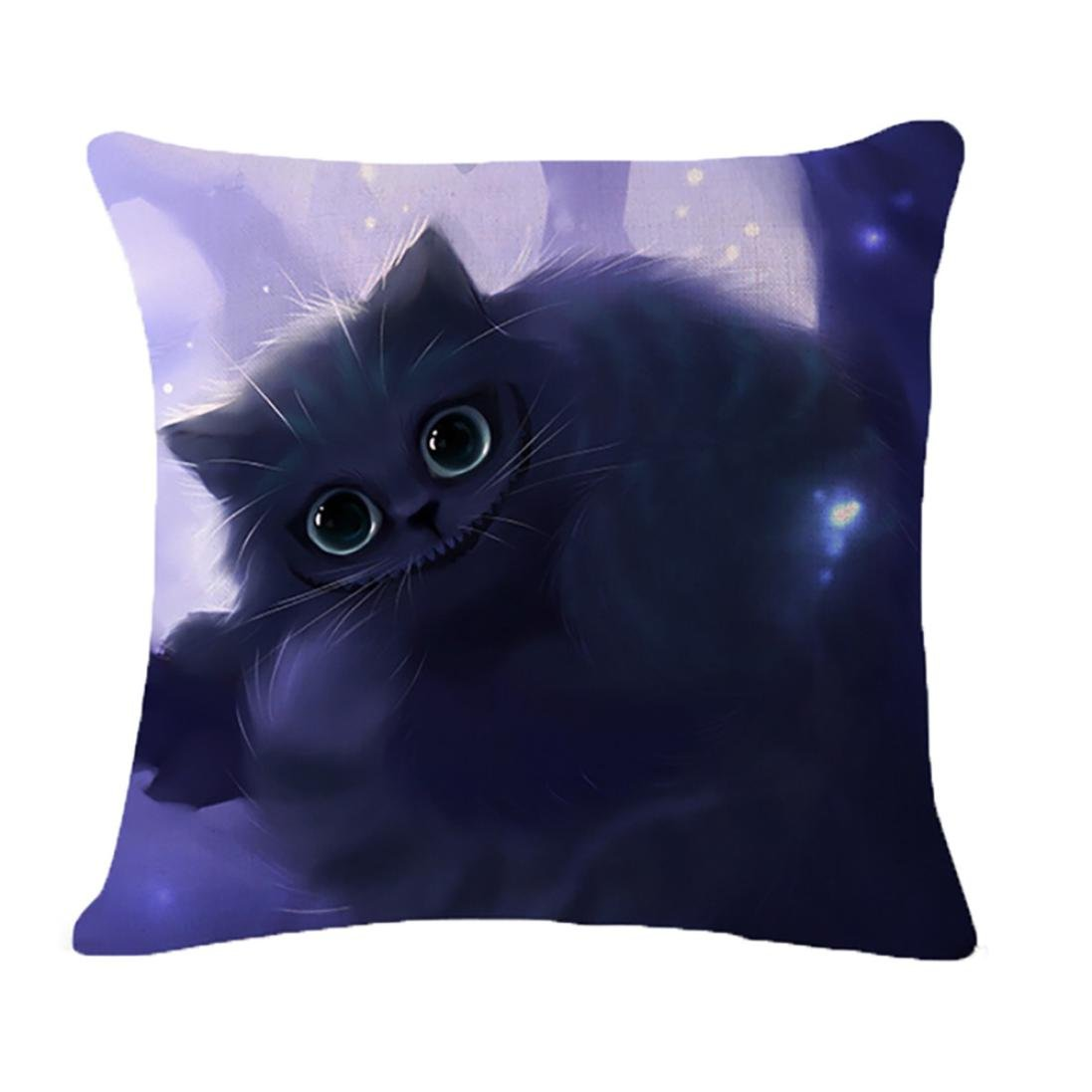 45 * 45cm Pillow Case, HUHU833 3D Black Cat Cushion Cover Cotton Linen Square Throw Pillow Cover (A)