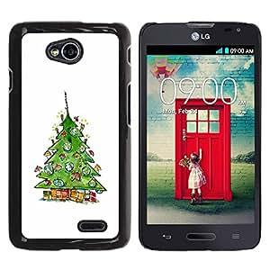 Be Good Phone Accessory // Dura Cáscara cubierta Protectora Caso Carcasa Funda de Protección para LG Optimus L70 / LS620 / D325 / MS323 // Tree Winter Santa White