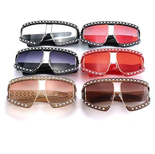 Color de Nuevas Moda de 6 Sol Grandes Unidos YANJING Gafas Sol Estados de con Europa 2018 Gafas Gafas 1 de y Nueva Incrustaciones Sol Perlas Bq11Rd