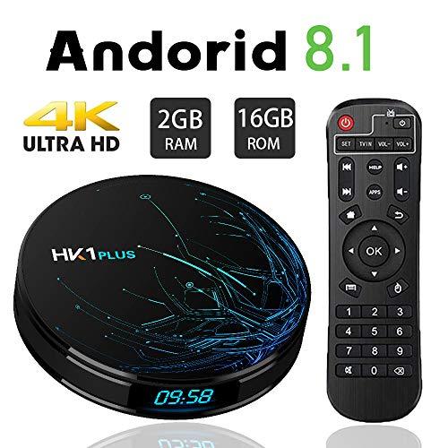 Transpeed Android TV Box 8.1, Amlogic S905X2 2.4G WiFi 3D 4K Resolution 2GB/16GB Streaming Media Player Set Top TV Box HK1 Plus 2GB+16GB