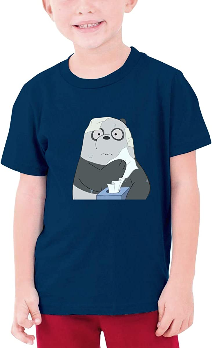 Runxin Custom We Bare Bears Funny T Shirts Short Sleeve for Youngster Black