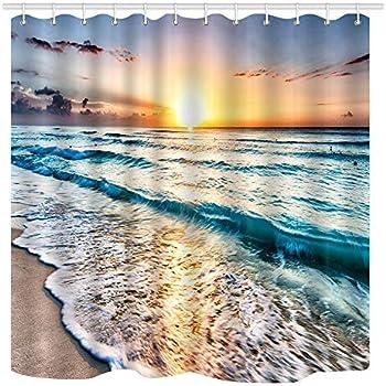 NYMB Ocean Shower Curtain, Sand Beach Wave Sea Water Pattern Set Shower Curtain, Fabric Bathroom Decorations Bath Curtains 12PCS Hooks, 69X70 Inches