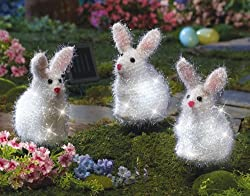 Set of 3 Adorable Solar Lighted Easter Bunny Outdoor Garden Stake Springtime Decoration