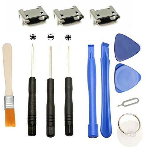 Games&Tech 3 x Micro USB Charging Charger Port Connector Replacement +  Tools for JBL Flip 3 Bluetooth Speaker