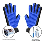 Groompet Pet Grooming Glove Bundle- Pair of Hair Remover Massage Gloves – 5 Finger De-Shedding Gloves - Toe Nail Trimmer and Nail File - Perfect for Cats & Dogs