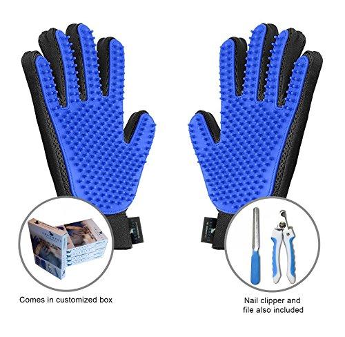 Groompet Pet Grooming Glove Bundle- Pair of Hair Remover Massage Gloves – 5 Finger De-Shedding Gloves, Toe Nail Trimmer…