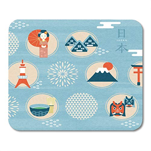 (Semtomn Gaming Mouse Pad Japan Culture Symbol Adorable Japanese Traditional in Flat Country Name 9.5