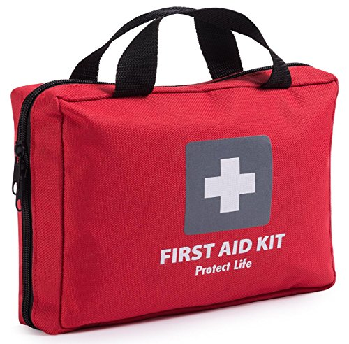 First Aid Kit – 200 piece – for Car, Home, Travel, Camping, Office or Sports | Red bag w/ reflective cross, fully stocked with essential supplies for Emergency and Survival