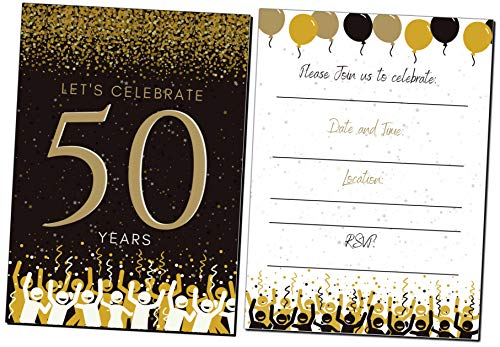 50th Birthday Party Invitations| 50 Years | Happy 50 Anniversary | Black and Gold | Confetti Streamers Party Invitations | Fill in Style | 20 Count with Envelopes | Surprise Party