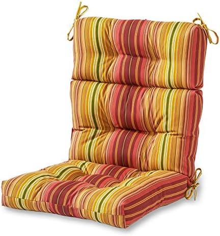 Best outdoor chair cushion: Greendale Home Fashions AZ4809-KINNIBARI Cinnamon Stripe 44'' x 22'' Outdoor Seat/Back Chair Cushion