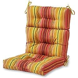 Greendale Home Fashions Indoor/Outdoor High Back Chair Cushion, Kinnabari Stripe