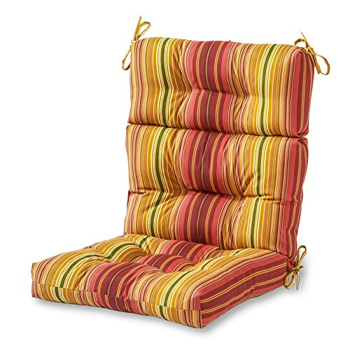 (Greendale Home Fashions Indoor/Outdoor High Back Chair Cushion, Kinnabari Stripe)