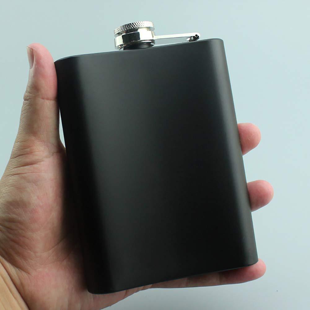 JER 1pc Alcool Flasque Cr/âne de Fuite 8 onces en Acier Inoxydable Preuve de Poche Flask Mode Noir Mini Camp Outdoor Cadeau Flasques Bouteille de Whisky Produits pour Maison//Cuisine
