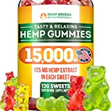 Premium Hemp Gummies - Safe and Natural - Made in USA - 15000MG Total, 125MG Each - Relaxing, Stress & Anxiety Relief - Special Blend - Rich in Vitamins B, E,Omega 3, 6, 9 & More Larger Image