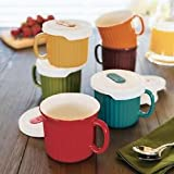 Stoneware Mugs With Matching Vented Lids 6 Count