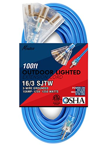 Miusco 100 ft 16 Gauge Heavy Duty Outdoor Extension Cord, 3 Prong, 12/3 SJTW, Triple Outlets, Lighted Plug, Fluorescent Blue