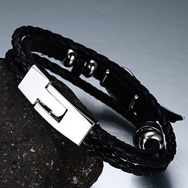 GYJUN Hombre Pulseras de cuero Amistad Moda inicial Piel Forma de Círculo Forma Redonda Joyas , black BLACK