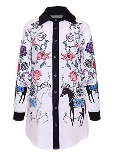 PrettySoul Women's Casual Turn Down Collar Long Sleeve Horse Floral Print Button Down Shirt Dress Blouse Tops White, (Knot Top Dress)