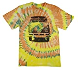 yellow tye dye - VW Classic Van Officially Licensed Tie Dye Adult Tshirt featuring Classic Volkswagen Splitty Van (Large)